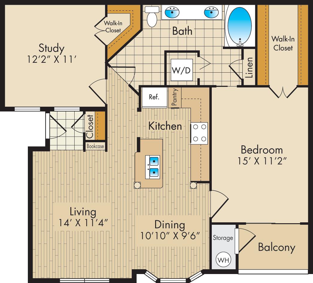 Plan D Post Oak Park Apartments